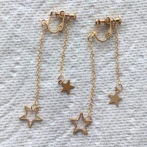 Stars Dangle Screwback Non-Pierced Earrings